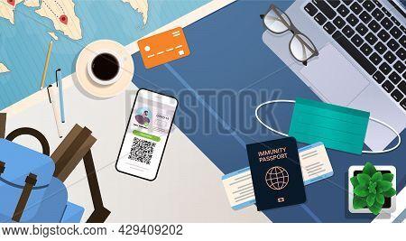 Digital Vaccinate Certificate And Global Immunity Passport On Workplace Desk Coronavirus Immunity Co