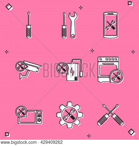 Set Screwdriver, And Wrench, Smartphone Service, Security Camera, Power Bank, Oven, Microwave Oven A