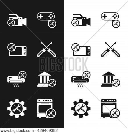 Set Crossed Screwdrivers, Microwave Oven Service, Video Camera, Gamepad, Air Conditioner, Bank Build