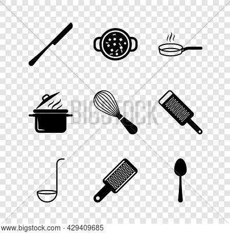 Set Knife, Cooking Soup In Pot, Frying Pan, Kitchen Ladle, Grater, Spoon, And Whisk Icon. Vector