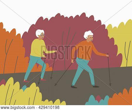 A Man And A Woman Walk In A Scandinavian Gait. An Elderly Couple Take A Leisurely Stroll Through The