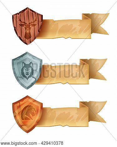 Rank Game Badge Icon Set, Vector Shield Medal Ui Award, Wooden Deer, Silver Wolf, Bronze Horse On Wh