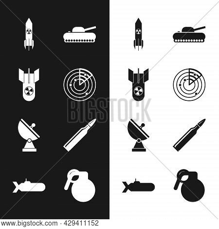 Set Radar With Targets, Nuclear Bomb, Rocket, Military Tank, Bullet, Hand Grenade And Submarine Icon