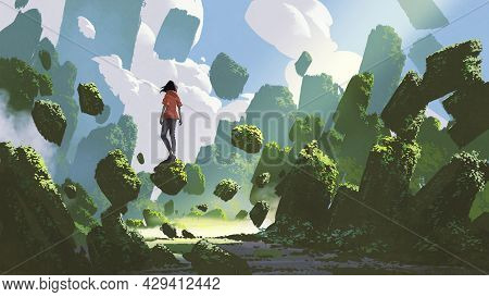 Fantasy Landscape Showing A Woman Standing On A Rock Floating In Midair, Digital Art Style, Illustra
