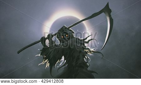 The Death As Know As Grim Reaper Holding The Scythe Against The Eclipse On The Background, Digital A