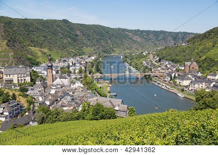 Aerial View At Cochem And River Moselle In Germany