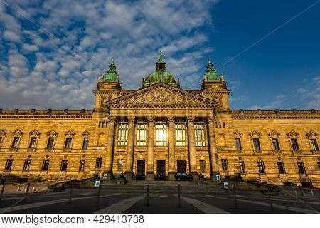 Leipzig, Germany - May 10, 2021: Sunrise At The Federal High Court Building At The City Of Leipzig.