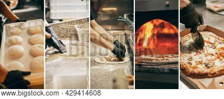 Process Of Making Tasty Aromatic Pizza In Cafe Or Restaurant. Looks Tasty, Delicious.