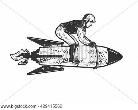 Rider Jockey Riding Military Rocket Sketch Engraving Vector Illustration. T-shirt Apparel Print Desi