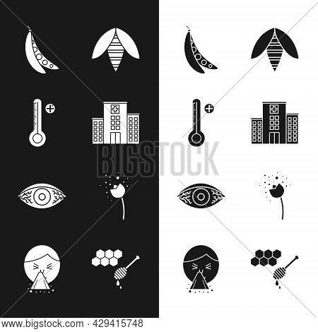 Set Medical Hospital Building, Digital Thermometer, Kidney Beans, Bee, Reddish Eye Allergic Conjunct