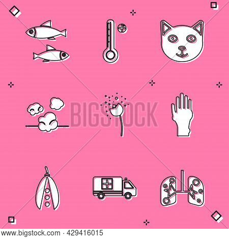 Set Fish, Medical Digital Thermometer, Pet, Dust, Flower Producing Pollen, Hand With Psoriasis Or Ec