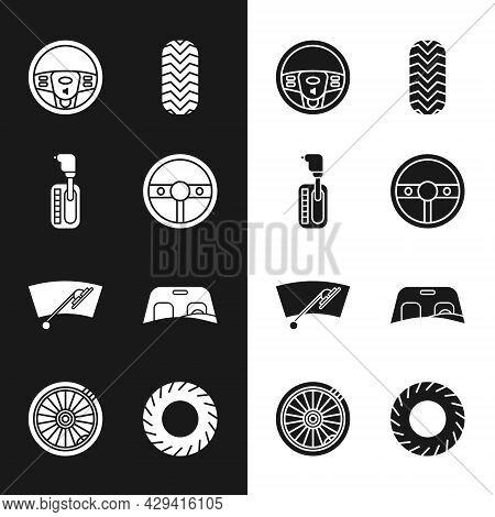 Set Steering Wheel, Gear Shifter, Car Tire, Windscreen Wiper, Windscreen, And Icon. Vector