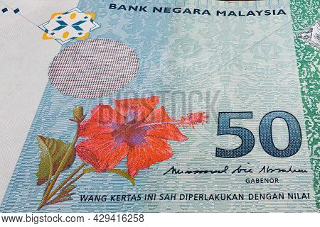 Super Macro Photography Of 50 Ringgit Malaysia. Extreme Close Up On A Rm 50 Banknote. In Center The