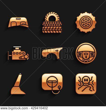 Set Car Fender, Oil Filler Cap At Gas Station, Gear Shifter, Steering Wheel, Handbrake, Engine, And