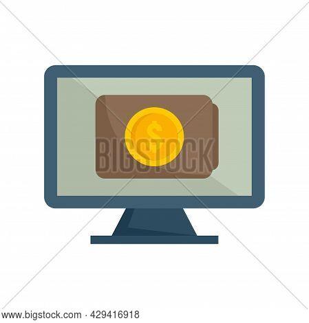 Online Pc Digital Wallet Icon. Flat Illustration Of Online Pc Digital Wallet Vector Icon Isolated On