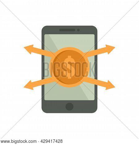 Crowdfunding Smartphone Icon. Flat Illustration Of Crowdfunding Smartphone Vector Icon Isolated On W