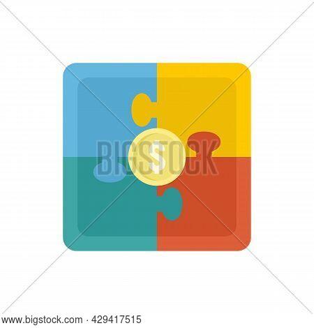 Crowdfunding Puzzle Icon. Flat Illustration Of Crowdfunding Puzzle Vector Icon Isolated On White Bac