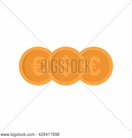 Crowdfunding Money Coins Icon. Flat Illustration Of Crowdfunding Money Coins Vector Icon Isolated On