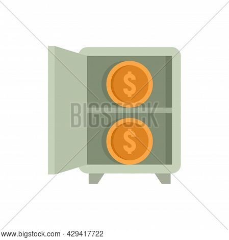 Crowdfunding Money Safe Icon. Flat Illustration Of Crowdfunding Money Safe Vector Icon Isolated On W