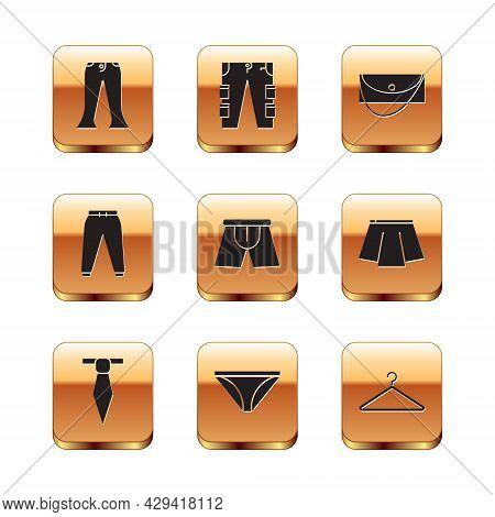 Set Pants, Tie, Men Underpants, Sport, Clutch Bag, Hanger Wardrobe And Cargo Icon. Vector