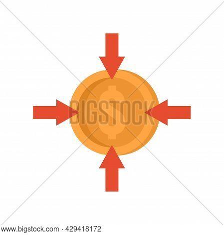 Crowdfunding Money Convert Icon. Flat Illustration Of Crowdfunding Money Convert Vector Icon Isolate