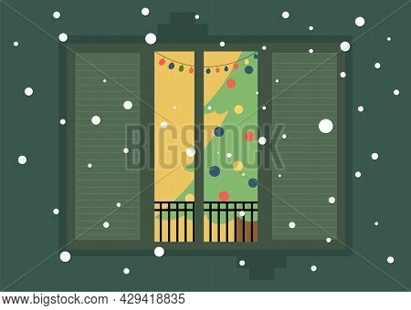 Christmas View, Christmas Tree In The Window, View Of The Window. A Window In A House With A Christm