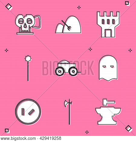 Set Cup From The Skull, Bale Of Hay And Rake, Castle Tower, Medieval Chained Mace Ball, Wooden Four-