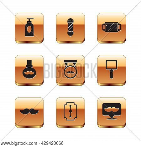 Set Cream Or Lotion Cosmetic Tube, Mustache, Blade Razor, Barbershop, Beard And Mustaches Care Oil B