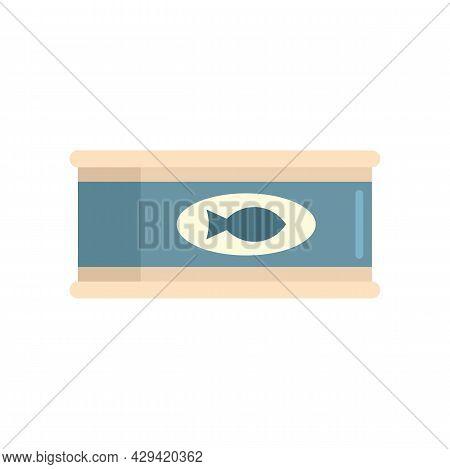 Survival Fish Tin Can Icon. Flat Illustration Of Survival Fish Tin Can Vector Icon Isolated On White