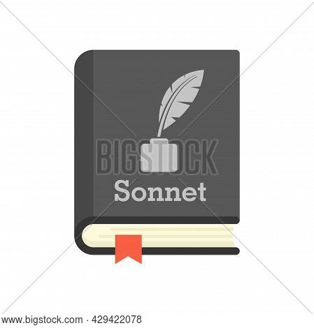Literary Sonnet Book Icon. Flat Illustration Of Literary Sonnet Book Vector Icon Isolated On White B