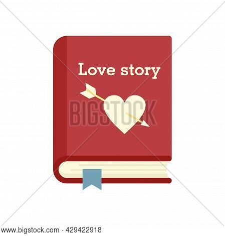 Love Story Book Icon. Flat Illustration Of Love Story Book Vector Icon Isolated On White Background