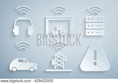 Set Wireless Antenna, Smart Server, Car System With Wireless, Exclamation Mark In Triangle, Warehous