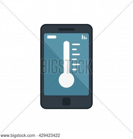 Smartphone Temperature Control Icon. Flat Illustration Of Smartphone Temperature Control Vector Icon