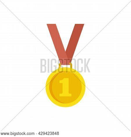 Life Skills Gold Medal Icon. Flat Illustration Of Life Skills Gold Medal Vector Icon Isolated On Whi