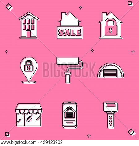 Set House, Hanging Sign With Sale, Under Protection, Location Lock, Paint Roller Brush, Garage, Mark