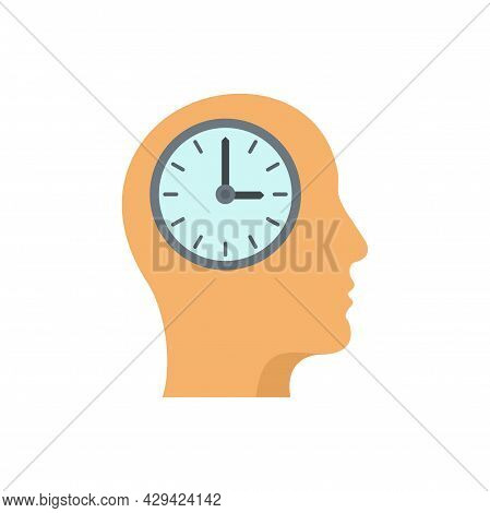 Mind Time Working Icon. Flat Illustration Of Mind Time Working Vector Icon Isolated On White Backgro