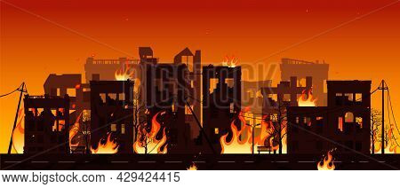 Destroyed City On Fire Vector Illustration Eps10