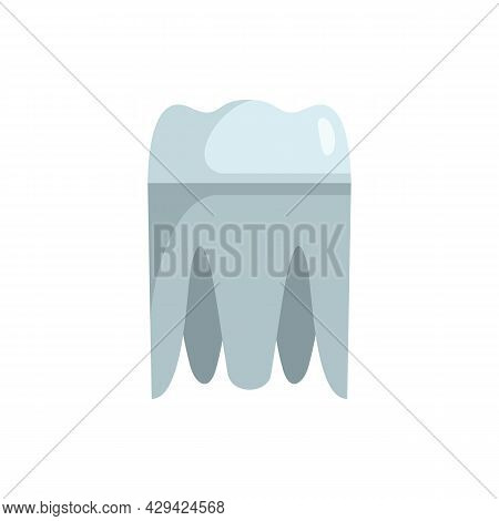 Metal Tooth Implant Icon. Flat Illustration Of Metal Tooth Implant Vector Icon Isolated On White Bac