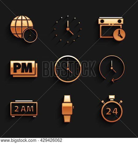 Set Clock, Smartwatch, Stopwatch 24 Hours, Digital Alarm Clock, Pm, Calendar And And World Time Icon