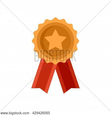 Mission Completed Emblem Icon. Flat Illustration Of Mission Completed Emblem Vector Icon Isolated On