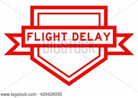 Vintage Pentagon Label Banner With Word Flight Delay In Red Color On White Background