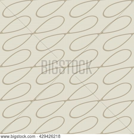 Infinity Symbol Sign Vector Seamless Pattern Background. Light Beige Ecru Backdrop With Diagonal Loo