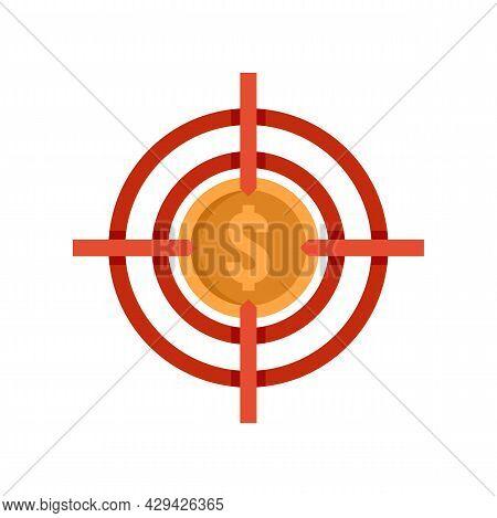 Mission Money Target Icon. Flat Illustration Of Mission Money Target Vector Icon Isolated On White B