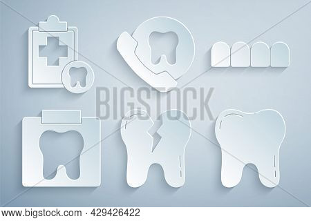 Set Broken Tooth, Dentures Model, X-ray Of, Tooth, Online Dental Care And Dental Card Icon. Vector