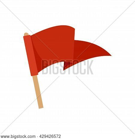 Red Flag Mission Icon. Flat Illustration Of Red Flag Mission Vector Icon Isolated On White Backgroun
