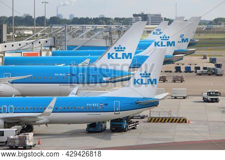 Amsterdam, Netherlands - July 11, 2017: Klm Airlines Fleet At Schiphol Airport In Amsterdam. Schipho