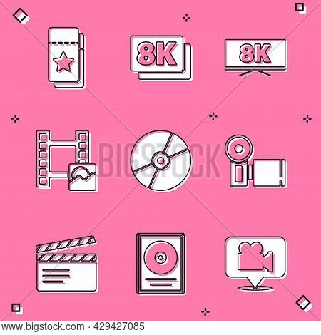Set Cinema Ticket, 8k Ultra Hd, Screen Tv With, Play Video, Cd Or Dvd Disk, Camera, Movie Clapper An