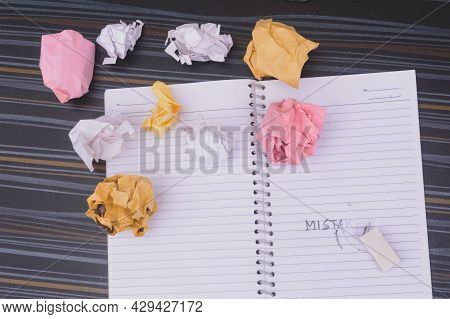 Erasing Mistake On Notepad. Learning, Wrong, Blooper, Regret Sayings Background. Fault, Defect, Care