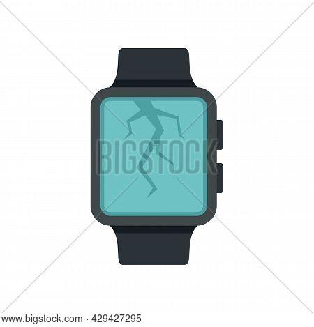 Crack Display Smartwatch Repair Icon. Flat Illustration Of Crack Display Smartwatch Repair Vector Ic
