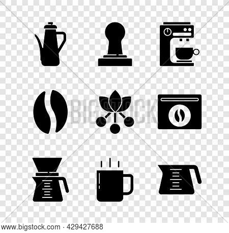 Set Teapot, Coffee Tamper, Machine, Pour Over Coffee Maker, Cup, Beans And Bean, Branch Icon. Vector